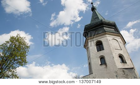 Town Hall Tower, famous example of medieval architecture in Vyborg, Russia