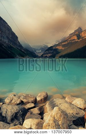 Lake Louise in Banff national park with mountains and forest in Canada.