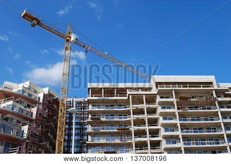 Construction Crane Building New Modern House Concept