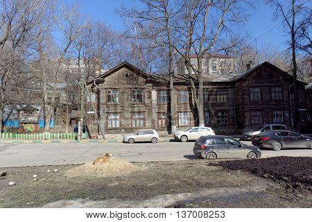 Nizhny Novgorod Russia. - April 07.2016. Residential wooden two-storey house on the street Kovalikhinskaya 90