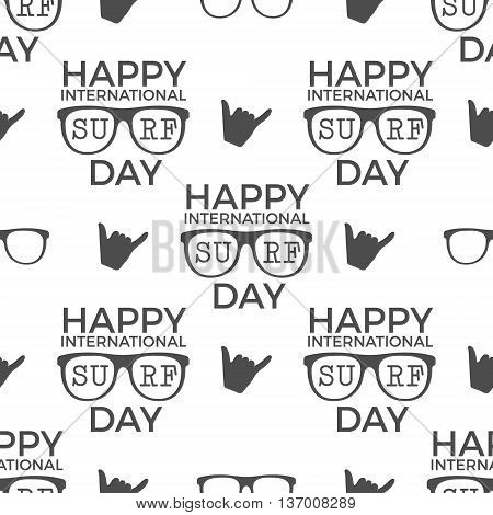 Surfing day pattern design. Summer seamless with surfer symbols - glasses, shaka sign and typography. Monochrome style. Vector illustration. Use for fabric printing, web projects, t-shirts or tee