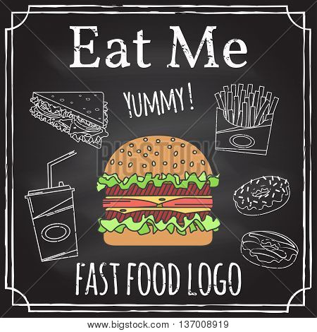 Eat Me. Elements On The Theme Of The Restaurant Business. Hamburger, Sandwich, Fries And Donut. Vect