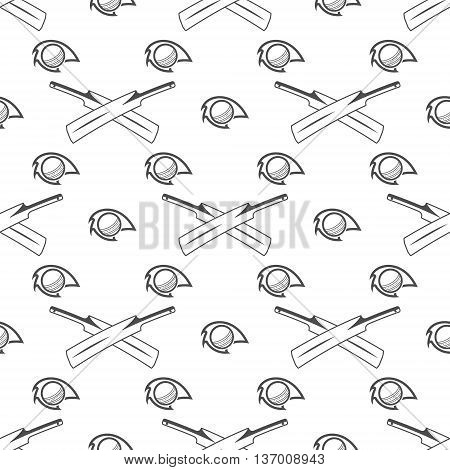 Cricket sport pattern. Retro background. Seamless pattern of cricket accessories - Bat ball symbols. Good for web projects, backdrop, tee design, t shirt etc. Vector illustration