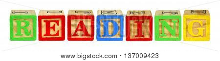 Wooden Toy Letter Blocks Spelling Reading Isolated On White
