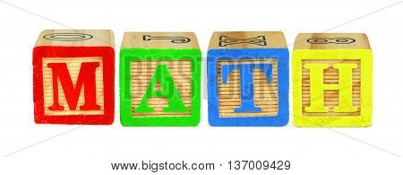 Wooden Toy Letter Blocks Spelling Math Isolated On White