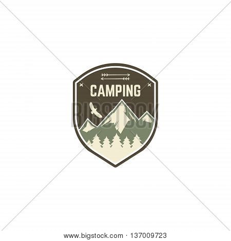 Camping Label. Vintage Mountain camp explorer badge. Outdoor adventure logo design. Travel retro style and hipster color insignia. With eagle, trees symbol. Wilderness emblem and stamp. Vector