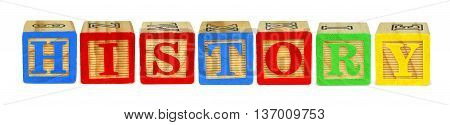 Wooden Toy Letter Blocks Spelling History Isolated On White