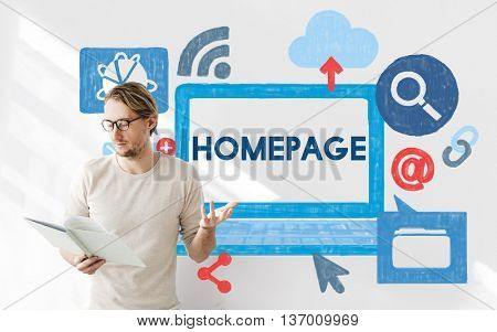 Homepage Address Digital Technology Connection Concept