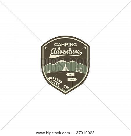 Camping adventure label. Mountain winter camp badge. Outdoor explorer logo design. Travel monochrome and hipster color insignia. Snowboard icon symbol. Wilderness emblem and stamp. Vector patch.