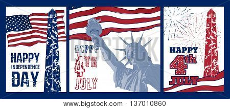 Set of Festive design elements for fourth of July Independence Day USA with symbols of America: Statue of Liberty, american flag, Washington monument, firework. Patriotic series, celebration of USA
