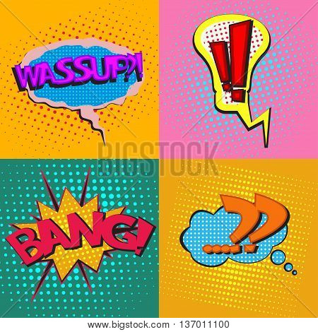 Pop art speech bubbles with texts Wassup Bang, with Exclamation point and question mark, colorful comic book speech bubbles set with texts on a dots pattern backgrounds in pop-art retro style, vector