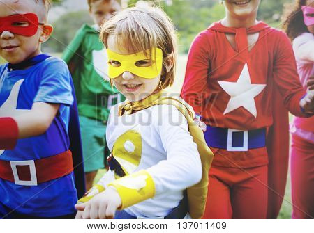 Kid Happy Superhero Youth Playful Concept