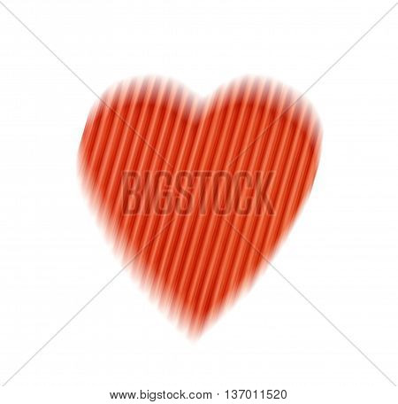 blurred offset abstract red heart with stripes isolated on a white background. the concept of love Valentine's day