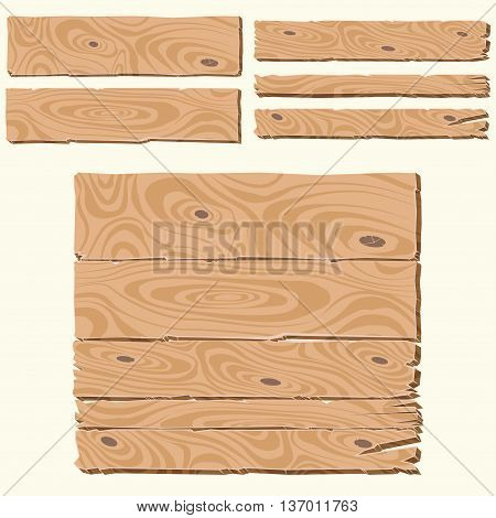 Set of wooden planks cartoon style, blank wooden boards, wooden banner with wood structure, knots and cracks, rustic wooden background, retro wooden billboard, you can simply regroup boards, vector