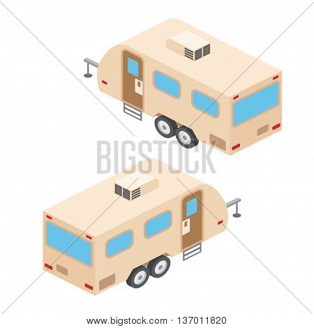 Isometric Rv Campers Trailer. Rv Travel Campers Isolated On White. Summer Campers Family Travel Conc