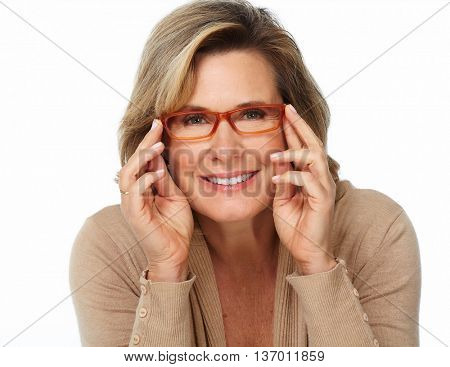 Senior business woman portrait with eyeglasses.