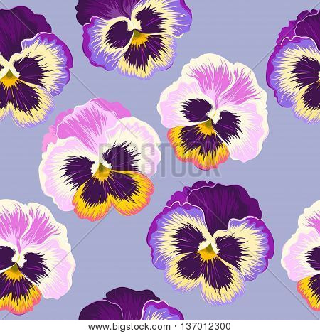 Bright and varicolored pansies vector seamless background