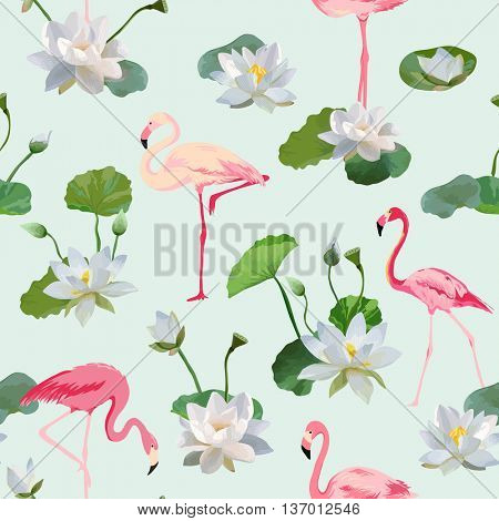Flamingo Bird and Waterlily Flowers Background. Retro Seamless Pattern. Vector Texture.