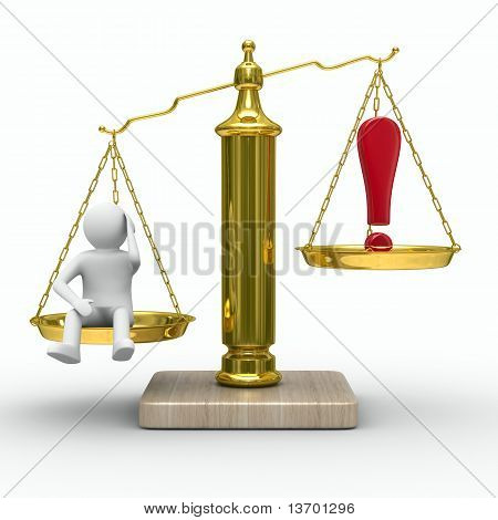 Man And Exclamation Point On Scales.