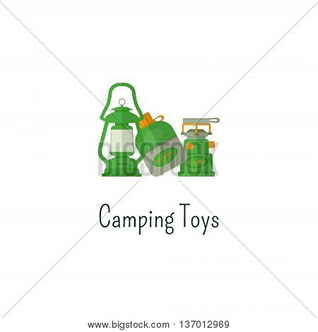 Camping toys flat icon. Toys isolated color pictogram. Toys for outdoors fun children. Adventure toys symbol for Vacation with family. Camp concept. Summer graphic for web infographics, print. Vector