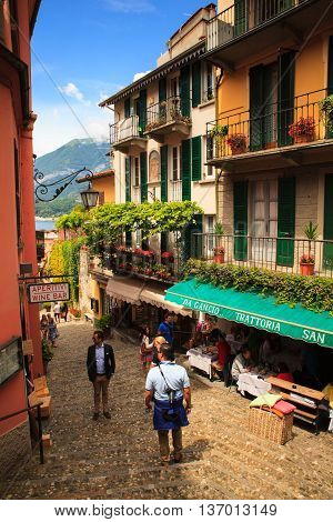 BELLAGIO ITALY - JUNE 12: View of picturesque alley of Bellagio on june 12 2016