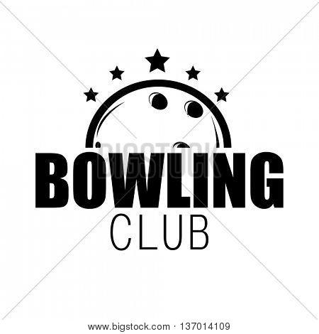 Bowling emblem or label, badge and designed element. Vector Illustration.