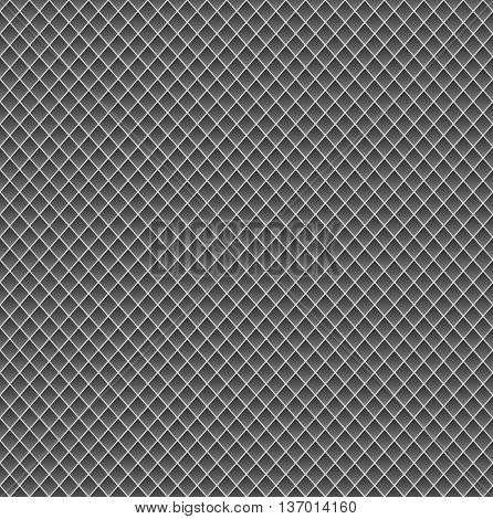 Realistic metal grid texture background. Structure of metal mesh fence with diagonal falling highlights and shadows. 3-dimensional vector. Perfect for your metal industry design, cards, banner, web.