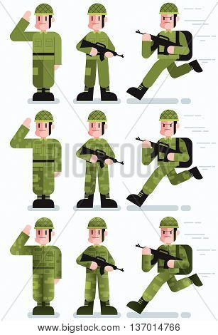Flat design illustration of soldier in 3 poses and 3 color versions.