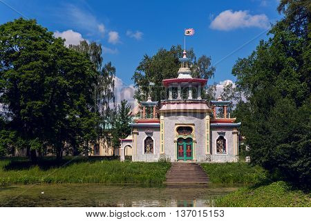 Pushkin, Russia - 2 July : Chinese Village in the Alexander Park restored under the direction of Ippolit Monighetti in the years 1859-1861 in celebration of World UFO Day on 2 July, 2016.
