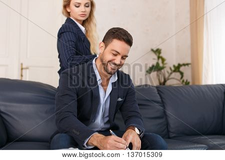 Businesswoman seduce his young boss in office