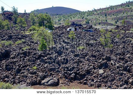 Roughing it: camping amidst a volcanic lava flow in Idaho's Craters of the Moon National Monument.