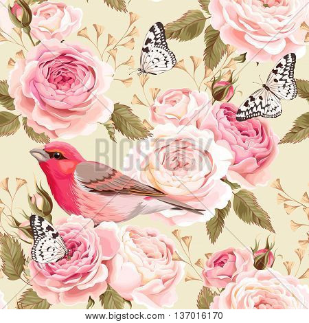 Vintage english roses and birds vector seamless background