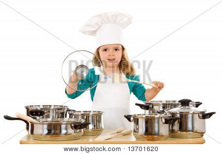 Little Girl Playing With Cooking Utensils