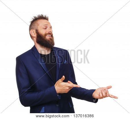 Side view portrait of young bearded man, laugh, point with fingers at something, isolated on white background. Emotional man find ridiculous, bullying and humiliates someone