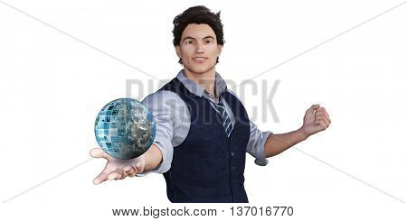 Global Technology Concept with Man Holding Globe 3d Illustration Render