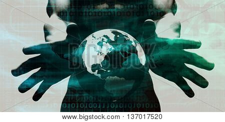 System Integration Network with Hands Holding Technology Globe