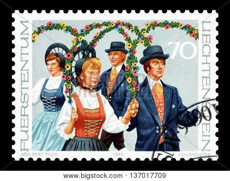 LIECHTENSTEIN - CIRCA 1980 : Cancelled postage stamp printed by Liechtenstein, that shows National costumes.