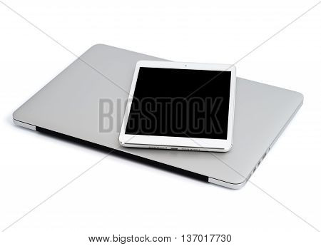 Laptop with tablet on white background isolated