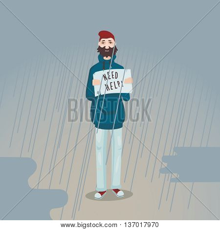 Workless man is standing in the rain with a poster. Cartoon illustration