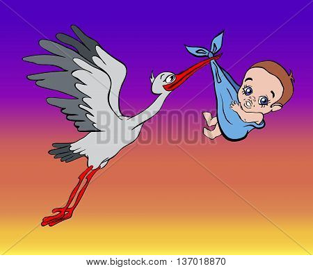 stork brings the baby in the sky