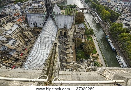 At The Top Of Cathedral Of Notre Dame, Paris, France