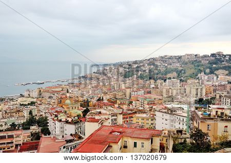 Panoramic view of the city of Naples, Campania, Italy