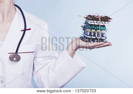Woman With Diet Weight Loss Pills.