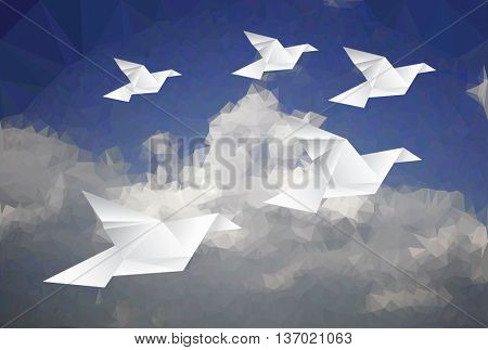 five paper doves in cloudy sky, low poly vector illustration, abstract background