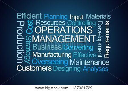 Operations Management Word Cloud on Blue Background