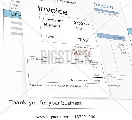 Invoice Bill Paid Payment Financial Taxation Concept