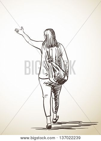 Sketch of woman walking away and pointing way, Hand drawn illustration