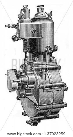 Type of water circulation motor, vintage engraved illustration. Industrial encyclopedia E.-O. Lami - 1875.