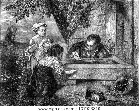Little Mariners, a watercolor painting by Decamps. Drawing by Jules Laurens. Found at the Louvre Museum in Paris, France. From Magasin Pittoresque, vintage engraving, 1878.