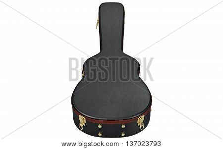 Leather case container for acoustic guitar, front view. 3D graphic